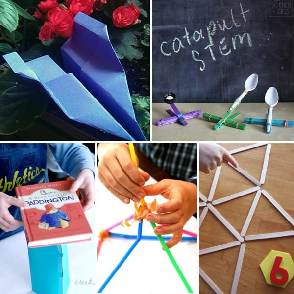 A collage of quick STEM challenges: paper airplanes, spoon catapults, testing the strength of shapes, building straw towers, and making geometric shapes with popsicle sticks.