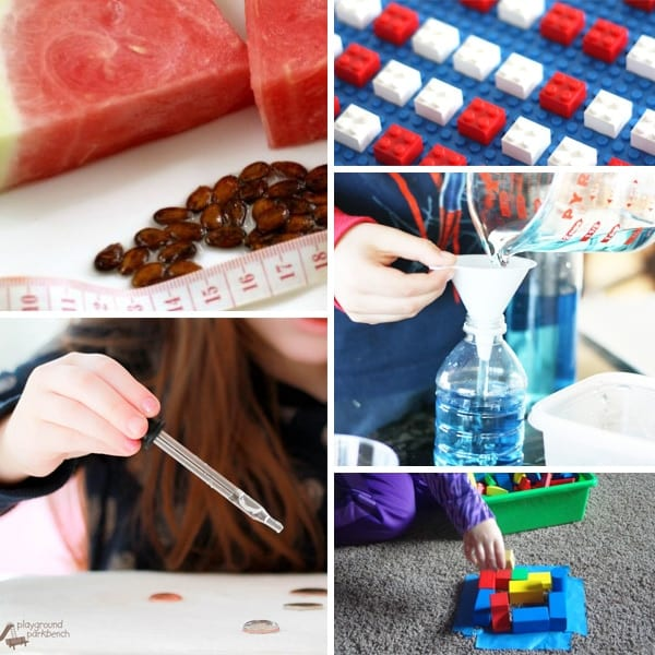 A collage of quick and easy STEM activities: Watermelon seed spitting measuring game, LEGO coding, measuring the water drops on a penny, pouring blue water into a bottle through a funnel, and building shapes with blocks.