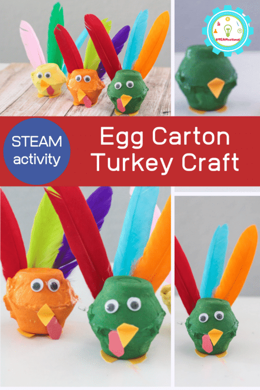 After making this egg carton turkey craft, your classroom might just want to learn how to make a turkey craft in other ways, too! This is a Thanksgiving STEAM project kids will want to repeat every year!