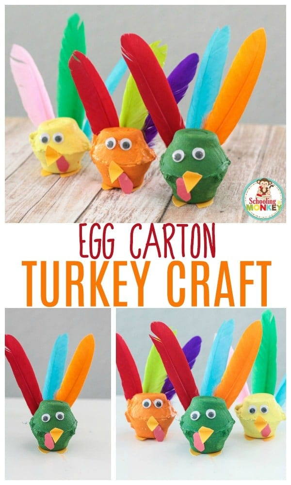 Get crafty when you make these egg carton turkeys using real feathers! The egg carton turkey craft is the perfect Thanksgiving activity for kids!