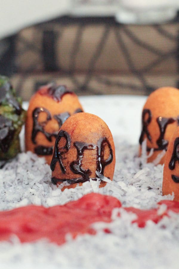 Fun Halloween food is a hit with everyone, and is the star of any Halloween party! Make your party memorable with this edible haunted graveyard appetizer!