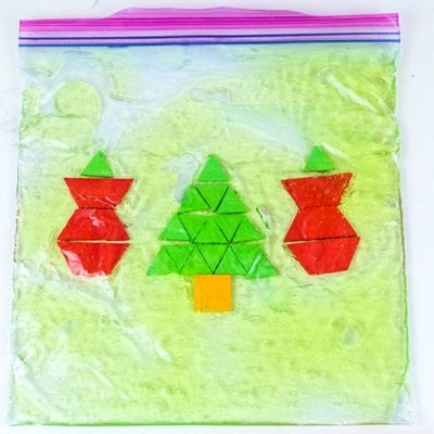 Christmas Pattern Block Sensory Bag that will Bring STEM to Life