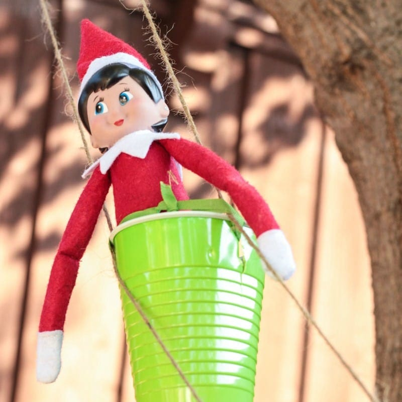 Mix Elf on the Shelf activities with STEM activities for kids in this fun Elf on the Shelf zip line STEM challenge! the elf has to travel somehow!