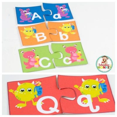 Monster Alphabet Letter Match Puzzles