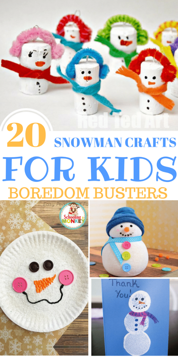 Don't let the winter blues get to you! These snowman crafts for kids are the perfect way to bring joy to your winter days when it's too cold to go out!