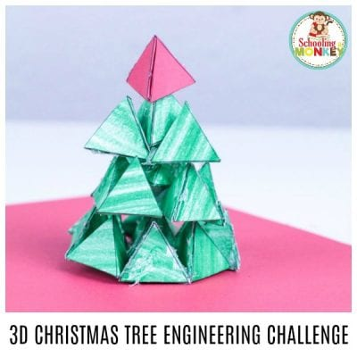 3D Christmas Tree Engineering Challenge for Kids
