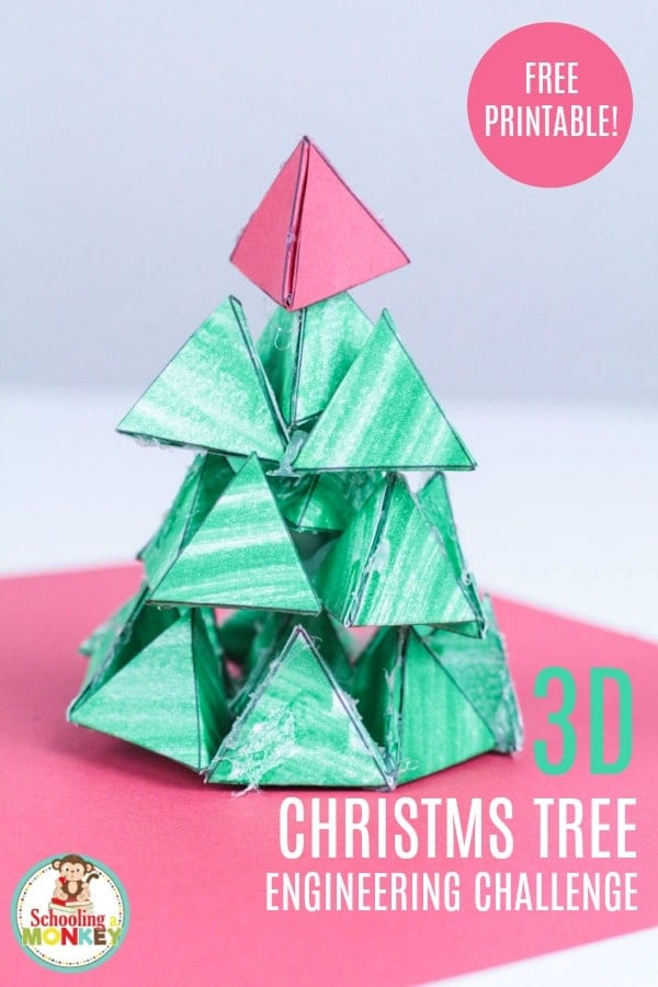Can you make a Christmas tree from 3D paper triangles? It's a problem in paper Christmas tree engineering! A fun Christmas STEM activity for kids!