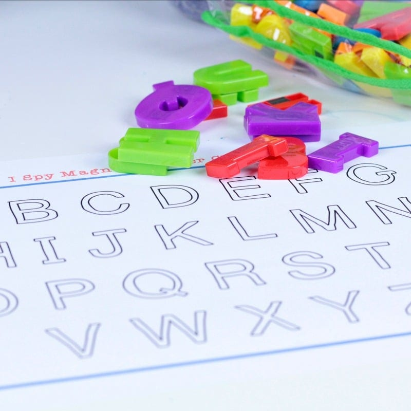 Make learning and recognizing letters fun with this seek and find magnetic letter matching game and printable! Just print and you're ready to play! #letteractivities #kindergarten #literacyactvities #freeprintables