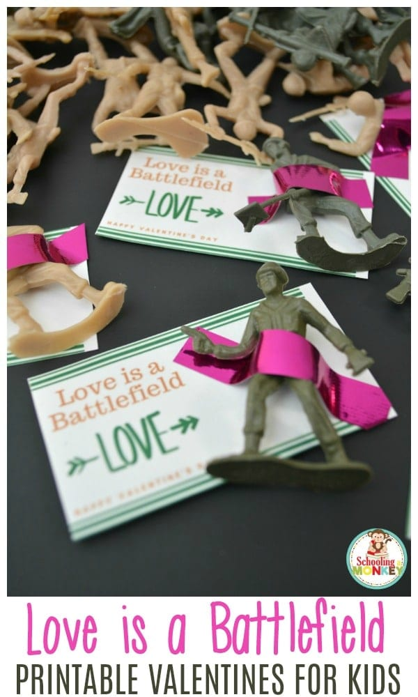 If you need a creative and boy-friendly valentine, these army men printable valentines are the perfect non-candy valentines for your son's classroom! #valentinesday #printablevalentines #valentines #kidsvalentines