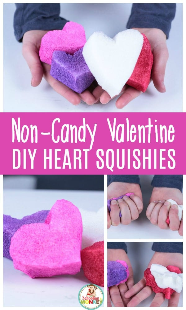 Looking for non-candy valentines? The DIY heart valentine squishy is the perfect valentine craft to make for your classmates! These DIY squishies will provide endless fun! #valentinesday #kidsactivities #valentines #valentinesactivities #valentinecraft