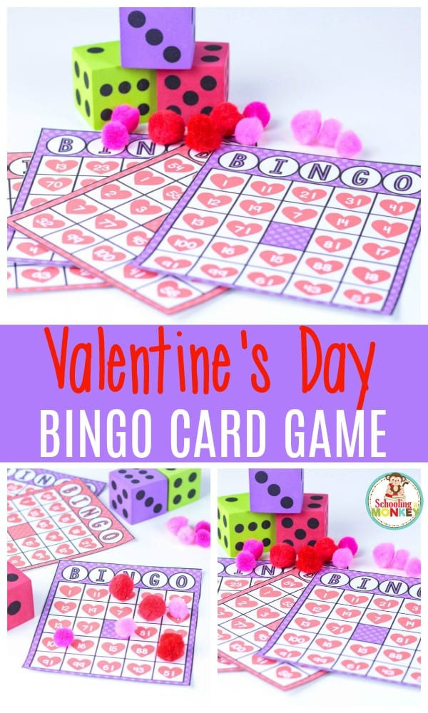 Make math fun this Valentine's Day with this printable Valentine bingo game! This game makes the perfect math activity for a Valentine's Day theme! #valentinesday #handsonmath #heartactivities #kidsactivities