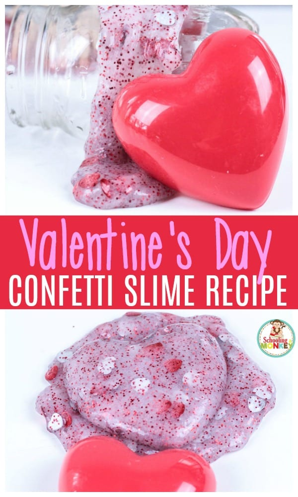This Valentine's Day slime recipe is perfect for kids of all ages! Make this Valentine confetti slime as a non-candy valentine for your kid's class or make it in school as a Valentine STEM activity! #valentinesday #kidsactivities #slime #slimerecipes