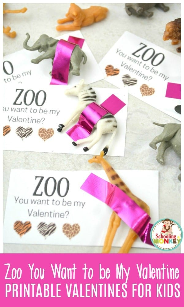 If you want the best non-candy valentine for kids, look no further than these zoo printable valentines for kids! Kids will love these punny valentines that include a toy zoo animal with every valentine.  #valentinesday #printablevalentines #valentinesprintables #valentines
