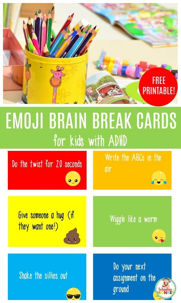 Have a child struggling with ADHD? These brain break cards for kids with ADHD will help them stay focused in the classroom and while doing homework at home. #adhd #specialneeds #teachingspecialneeds #teaching adhd