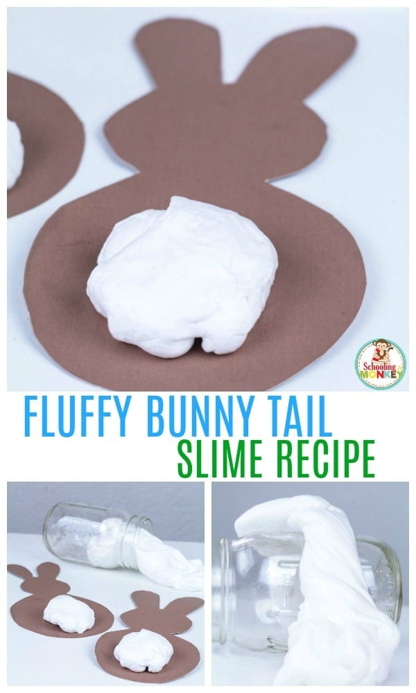 Calling all slime fans! This fluffy bunny tail slime recipe is the perfect slime recipe for Easter! The Easter slime is super fluffy and looks just like a bunny tail! Use the printable bunny template to make this slime activity even easier! #slimerecipes #slime #easteractivities #easter