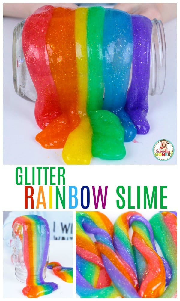 Love rainbows? Love glitter? Combine your loves in this beautiful glitter rainbow slime recipe! It's the perfect slime recipe for St. Patrick's Day or any time you need a burst of rainbow color in your classroom or home! #rainbow #slimerecipe #slime #kidsactivities #stpatricksday