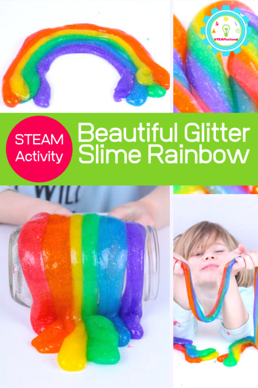 This pretty rainbow glitter slime is easy to make and also makes a fun addition to any rainbow science experiments.
