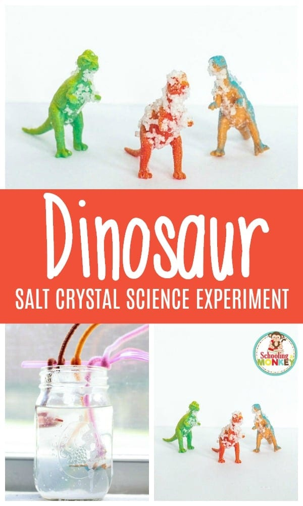 IY dinosaur crystals are easy! Grab toy dinosaurs and some salt! Get the step-by-step directions to make crystal dinosaurs here!