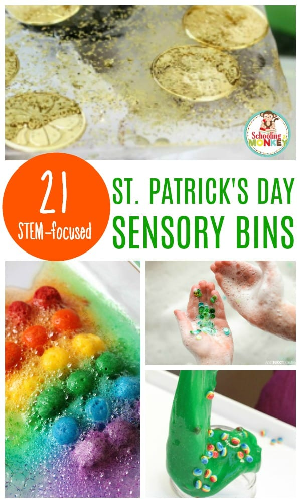 Foster a love of STEM topics in your preschoolers and toddlers with these festive St. Patrick's Day STEM sensory bins. These St. Patrick's Day sensory bins teach the basics of science, technology, engineering, and math to the youngest preschool science fans. #stemactivities #preschoolactivities #stem #sensory