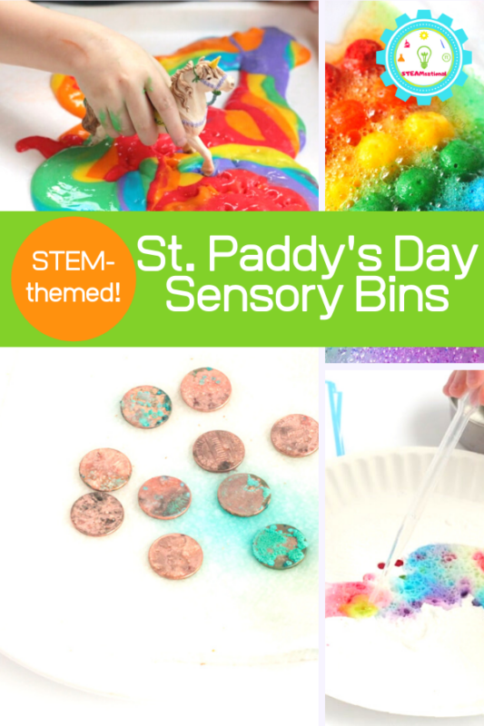 If you are looking for some simple and fun St. Patrick's Day STEM Sensory bins, you've come to the right place. These St. Patrick's Day Sensory STEM activities are full of everything rainbow, gold, and St. Patrick's Day.