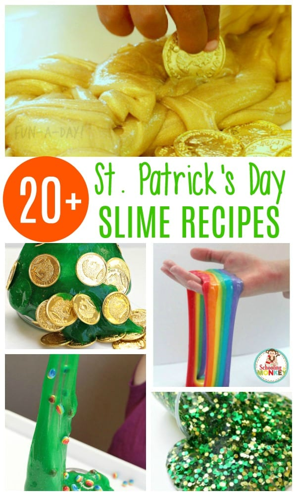 If you love slime, you'll adore these easy St. Patrick's Day slime recipes! These slime recipes for St. Patrick's Day provide the perfect balance between learning and fun. You won't want to miss trying these stretchy St. Paddy's day slime recipes! #slimerecipe #slime #sensory #kidsactivities
