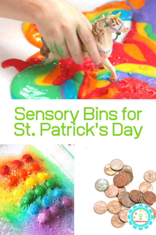 st patricks day stem sensory bins
