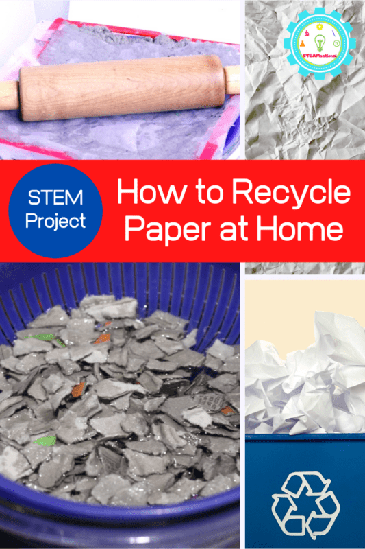 Ever wonder how paper is recycled or how to make paper without a screen? Kids will have tons of fun with this paper recycling project and kids will beg to do this recycling project over and over again.