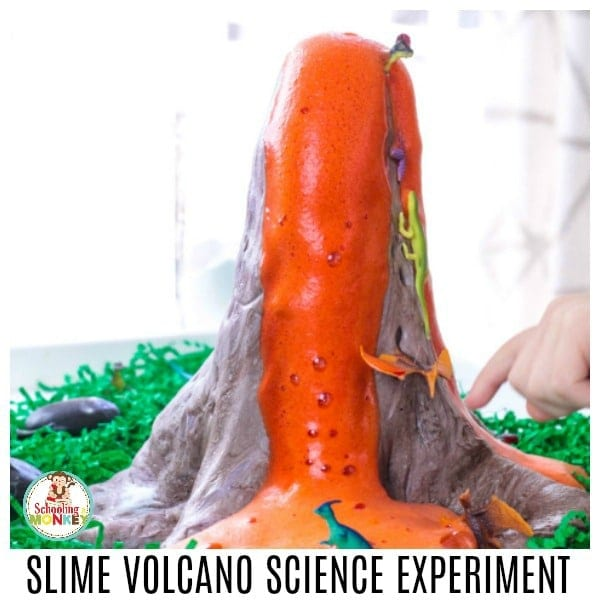 Take slime to the next level! Make volcano slime that really erupts using these easy directions for making dinosaur volcano slime! This volcano slime recipe uses fluffy slime and is perfect for setting up volcano science experiments at a science fair! Make slime educational!