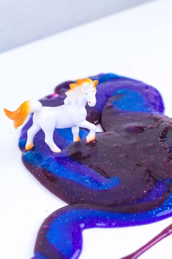 You've heard of unicorn slime, now try dark unicorn slime! This slime recipe is inspired by Princess Luna from My Little Pony and would make a fun birthday party favor for any My Little Pony birthday party! Princess Luna slime is fun to make and play with and uses an easy slime recipe.