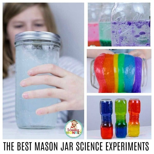What can you do in a jar? Quite a lot! These mason jar science experiments are so much fun, and help teach kids the basics of the scientific method and science vocabulary even if you're not a science teacher! Make learning science fun again! It's not just a jar, it's a science jar!