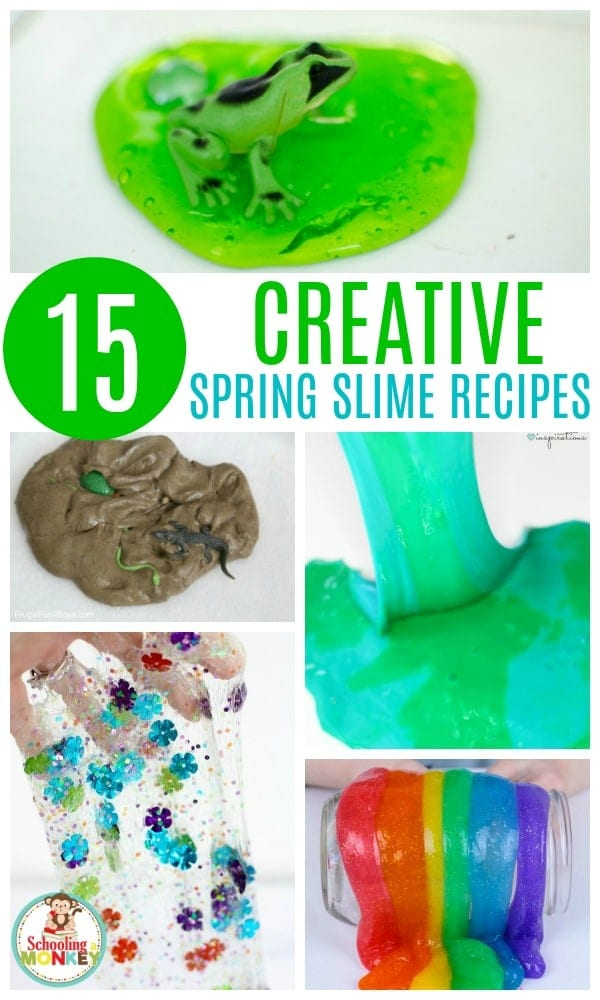 Make slime seasonal with these fun spring slime recipes! Slime for spring will help explore fun spring themes using slime! Learn with slime and have a blast with these slime recipes for spring! Kids have never had this much fun with slime before. Make slime educational! #springactivities #kidsactivities #slime #slimer