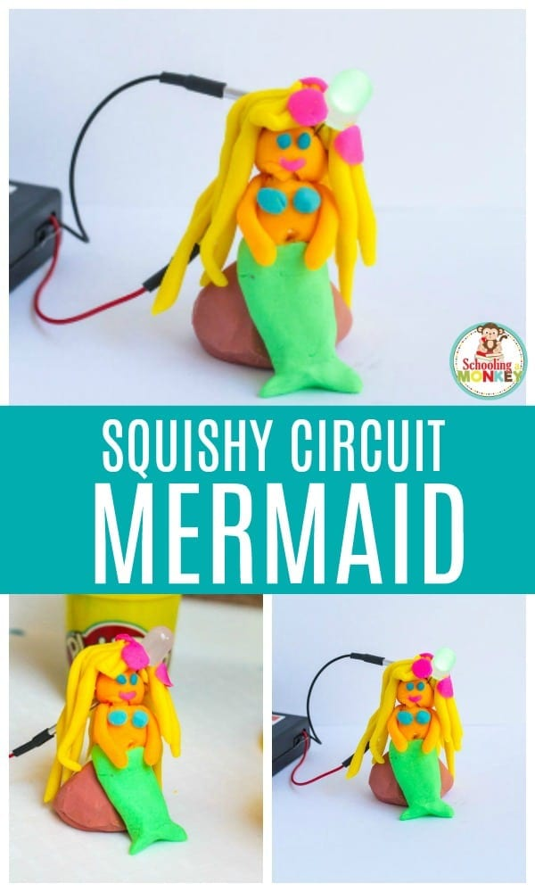 STEM activities don't have to be boring. They are more exciting when you include fun themes that kids love, like mermaids! These Squishy Circuits projects feature mermaids and make learning about electricity fun. Help kids learn about electricity in a safe and fun way when you make a Squishy Circuit mermaid! #STEMed #stem #stemactivities #engineering #summerfun #summeractivities #kidsactivities #mermaid