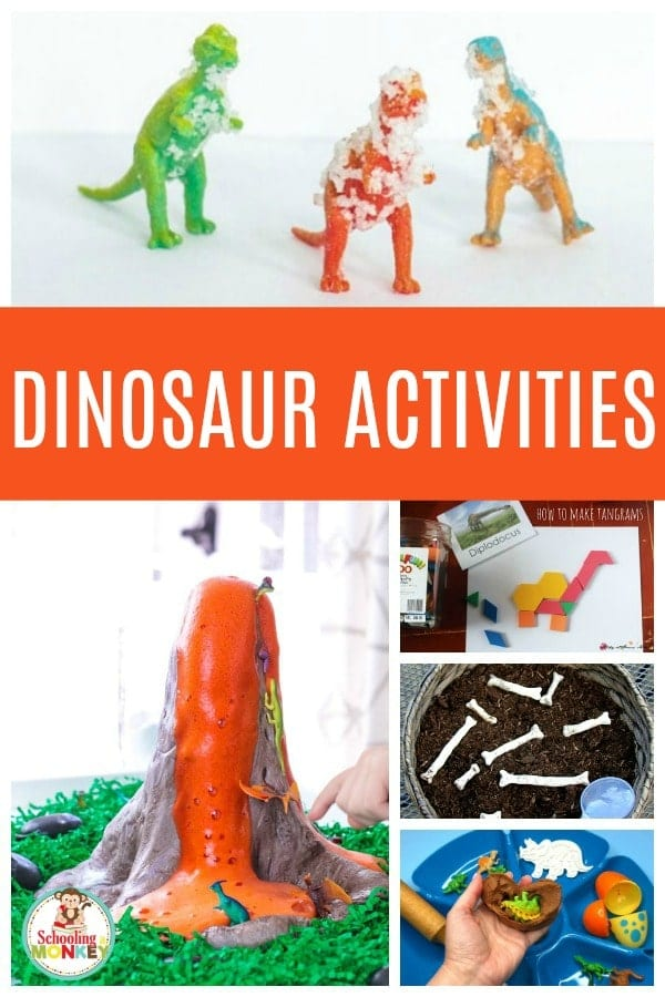 Fun dinosaur activities for early learning themes. #thematicunit #earlylearning #preschool #kindergarten #dinosaurs #unitstudy #learningtheme