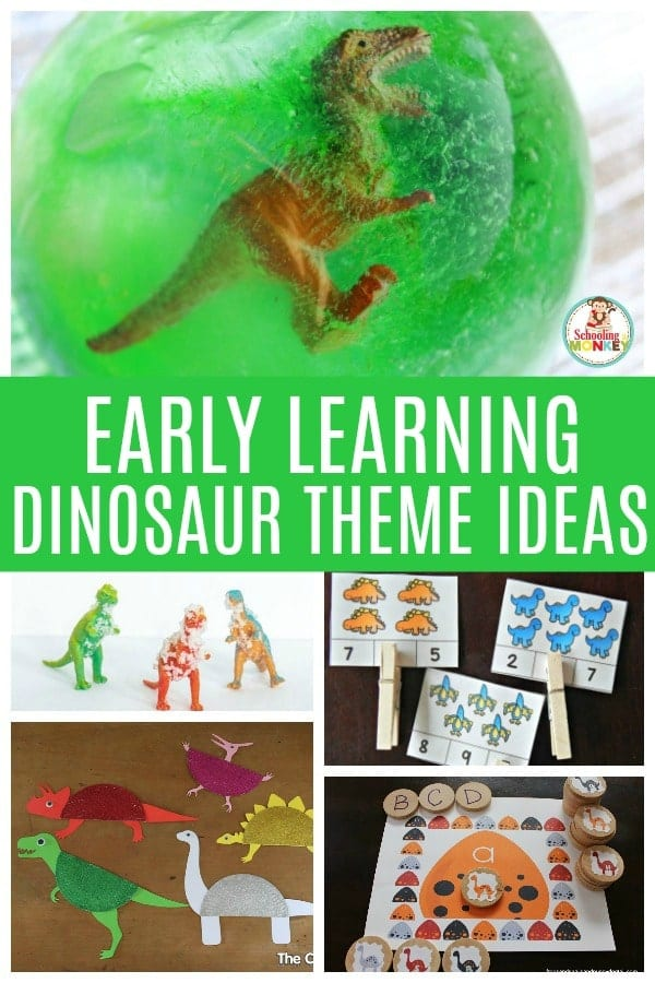 Learning is more fun with dinosaurs. Image of a collection of fun dinosaur activities for kids. Dinosaur math, dinosaur science, dinosaur sensory, and dinosaur literacy activities. #thematicunit #earlylearning #preschool #kindergarten #dinosaurs #unitstudy #learningtheme