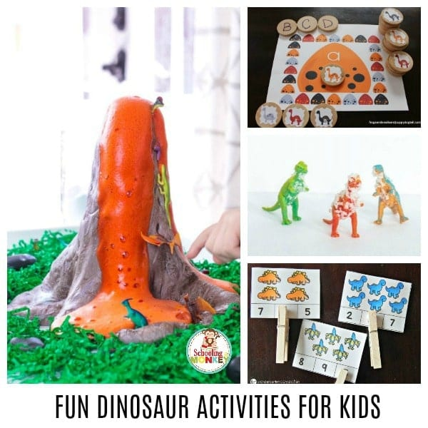 Fun dinosaur activities for preschool and kindergarten. A complete list of dinosaur activities for early years including dinosaur crafts, dinosaur science, dinosaur books, dinosaur math, dinosaur letter activities, and dinosaur sensory activities. #thematicunit #earlylearning #preschool #kindergarten #dinosaurs #unitstudy #learningtheme
