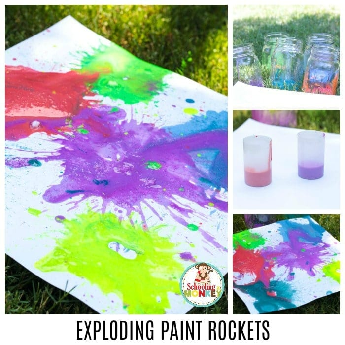 Take your STEM activities outdoors when you make these exploding paint rockets. These exploding paint bombs are filled with colorful learning fun! Exploding paint projects are the perfect summer STEAM challenge for kids to try. Kids will love how exciting it is to make their very own exploding paint film canister rockets! #stemed #stem #steamprojects #stemactivities #STEAM #kidsactivities #summerlearning #summerfun #scienceexperiments