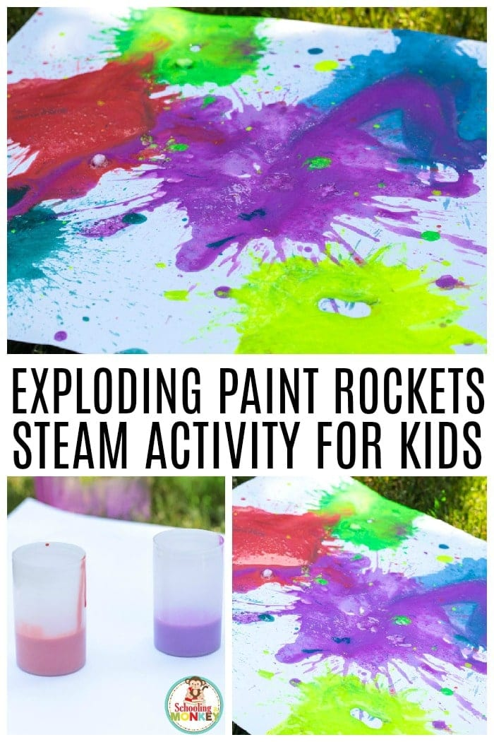 Make your very own exploding art this summer with the super fun STEM activity: exploding paint rockets! Make your exploding paint film canister rockets fly far into the air when you try this fun summer STEM activity. Exploding STEAM projects have never been as fun before! #stemed #stem #steamprojects #stemactivities #STEAM #kidsactivities #summerlearning #summerfun #scienceexperiments