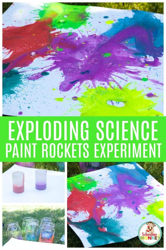 Make an exploding paint film canister rocket as a summer activity this year! Kids will love this hands-on and educational STEM activity where they make their very own exploding paint rockets. Exploding art is a fun way to combine science and art. #stemed #stem #steamprojects #stemactivities #STEAM #kidsactivities #summerlearning #summerfun #scienceexperiments