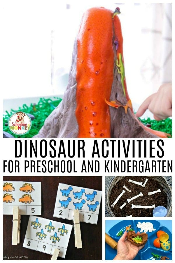 The ultimate list of fun dinosaur activities for kids. These dinosaur theme ideas include dinosaur activities for math, dinosaur activities for science, dinosaur activities for literacy, dinosaur crafts, and dinosaur sensory activity ideas. #thematicunit #earlylearning #preschool #kindergarten #dinosaurs #unitstudy #learningtheme
