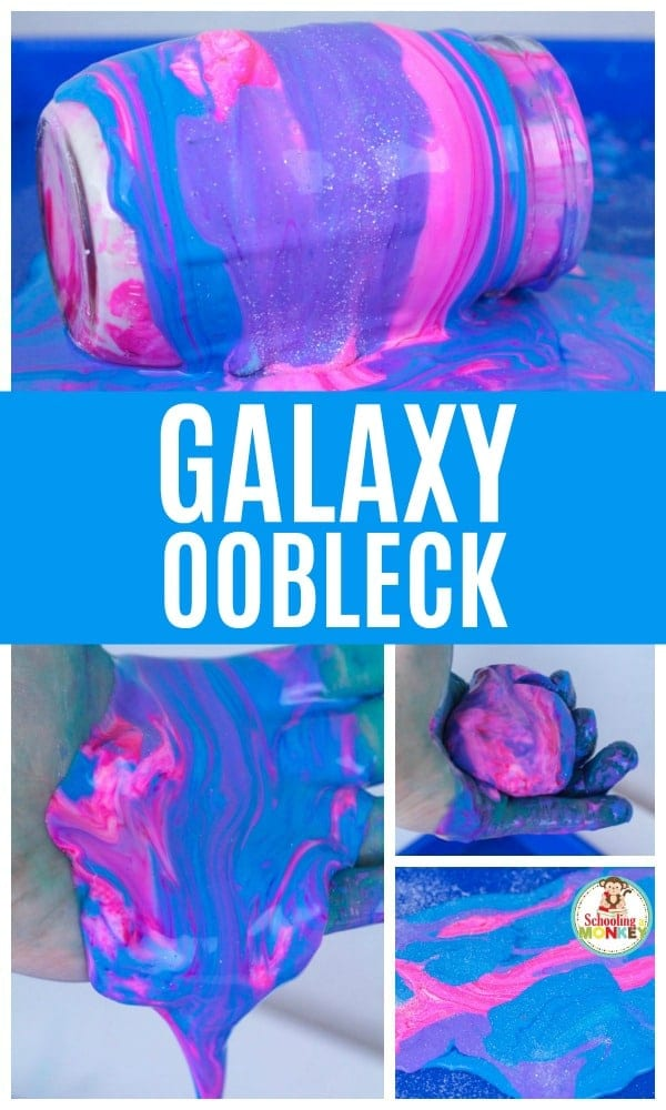 Make summer learning fun when you make the galaxy oobleck science experiment. Kids will love this colorful version of the non-Newtonian fluid and will ask to do this science experiment over and over. Summer science experiments are fun for kids of all ages. #stem #stemed #science #scienceexperiments #summer #summerfun #summeractivities