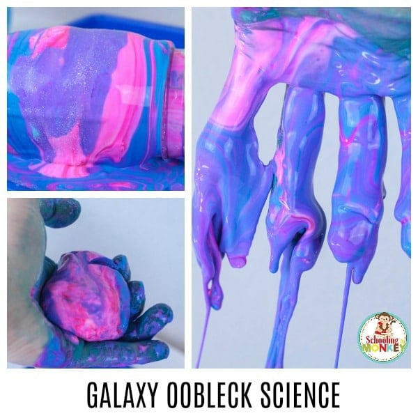Make learning fun with galaxy oobleck slime, a fun twist on cornstarch quicksand and non-Newtonian fluid science. Learn what is oobleck and how liquids can act like solids and liquids at the same time in this fun summer science experiment! #stem #stemed #science #scienceexperiments #summer #summerfun #summeractivities