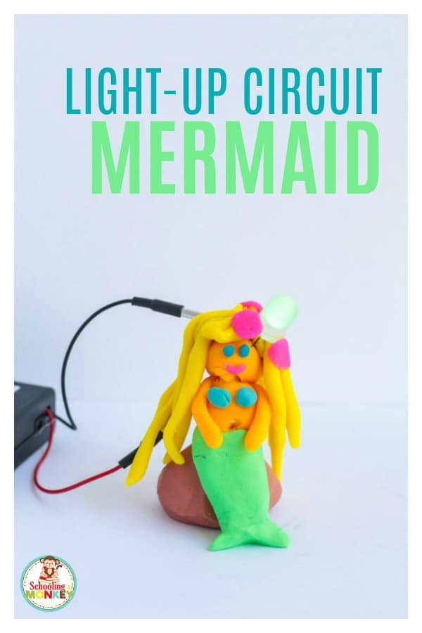 Circuit activities for kids are tons of fun and help kids learn all about electricity. Squishy Circuits project are a safe way to introduce kids to electrical engineering. Electricity is even more fun when you use electricity to light up a mermaid! The Squishy Circuit mermaid makes learning fun! #STEMed #stem #stemactivities #engineering #summerfun #summeractivities #kidsactivities #mermaid