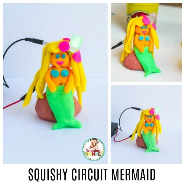 STEM activities are more fun when they include seasonal activities. Learn how to make a Squishy Circuit Mermaid with a light-up flower in this fun electricity project for kids. Squishy Circuit projects are the perfect way to introduce kids to circuits. #STEMed #stem #stemactivities #engineering #summerfun #summeractivities #kidsactivities #mermaid