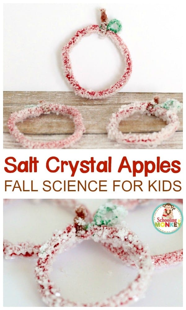 science experiments for fall -salt crystal apples