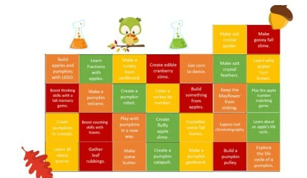 fall stem challenge calendar