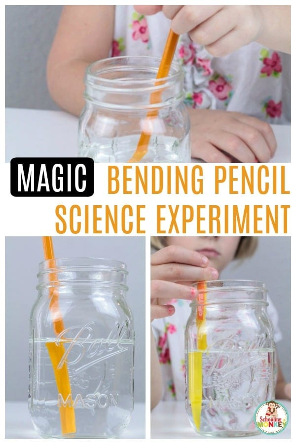 Do you know the bending pencil experiment explanation? It's a fun lesson in light refraction for kids! #scienceforkids #jarringscience #stemed #stemactivities #scienceexperiments