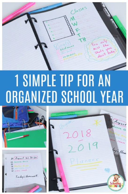 School organization tips for students to make this your best orgaized and most chaos-free year ever! One simple thing is all you need to stay organized! #organizationtips #backtoschool #parentingtips #classroommanagement