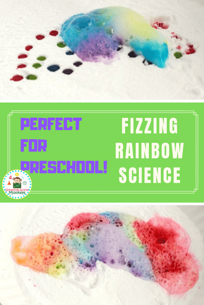 Want to know what happens when baking soda and vinegar are combined? Try the fizzing rainbow experiment perfect as toddler science and preschool science experiments! #toddleractivities #preschoolactivities #stemactivities #scienceexperiments