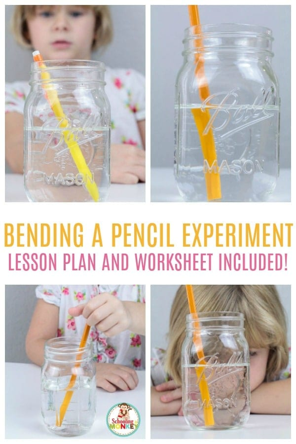 The bending pencil experiment is a fun light refraction science experiment for kids! Get the lesson plan and worksheet to make things easier! #scienceforkids #scienceexperiments #science #stemed