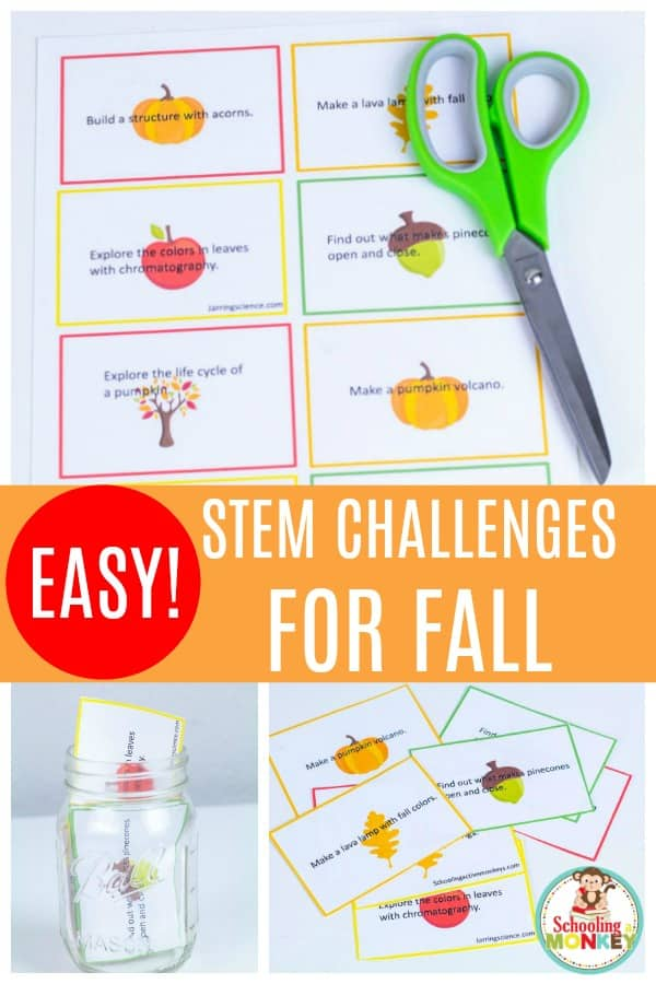 These easy STEM challenges for fall are the perfect way to bring fun back to STEM activities! A twist of STEM challenges and a twist of fall fun are the perfect way to bring STEM projects to life! #stemactivities #stemed #scienceclass #scienceforkids #scienceexperiments